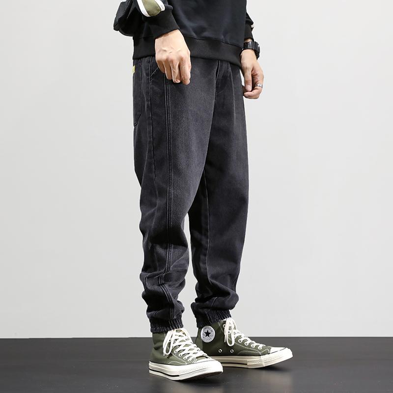 Fashion Streetwear Loose Fit Denim Cargo Pants Hip Hop Men Joggers Thick Velvet Winter Warm Jeans Homme