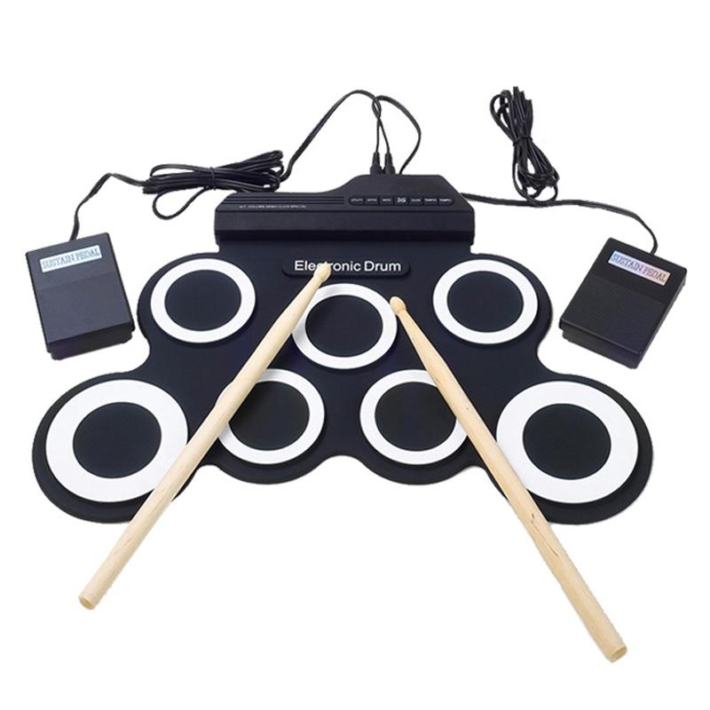 Drum Sets Hand Roll USB Electronic Drum Portable Digital Electronic Drum Kit Compact Size Percussion For Beginners