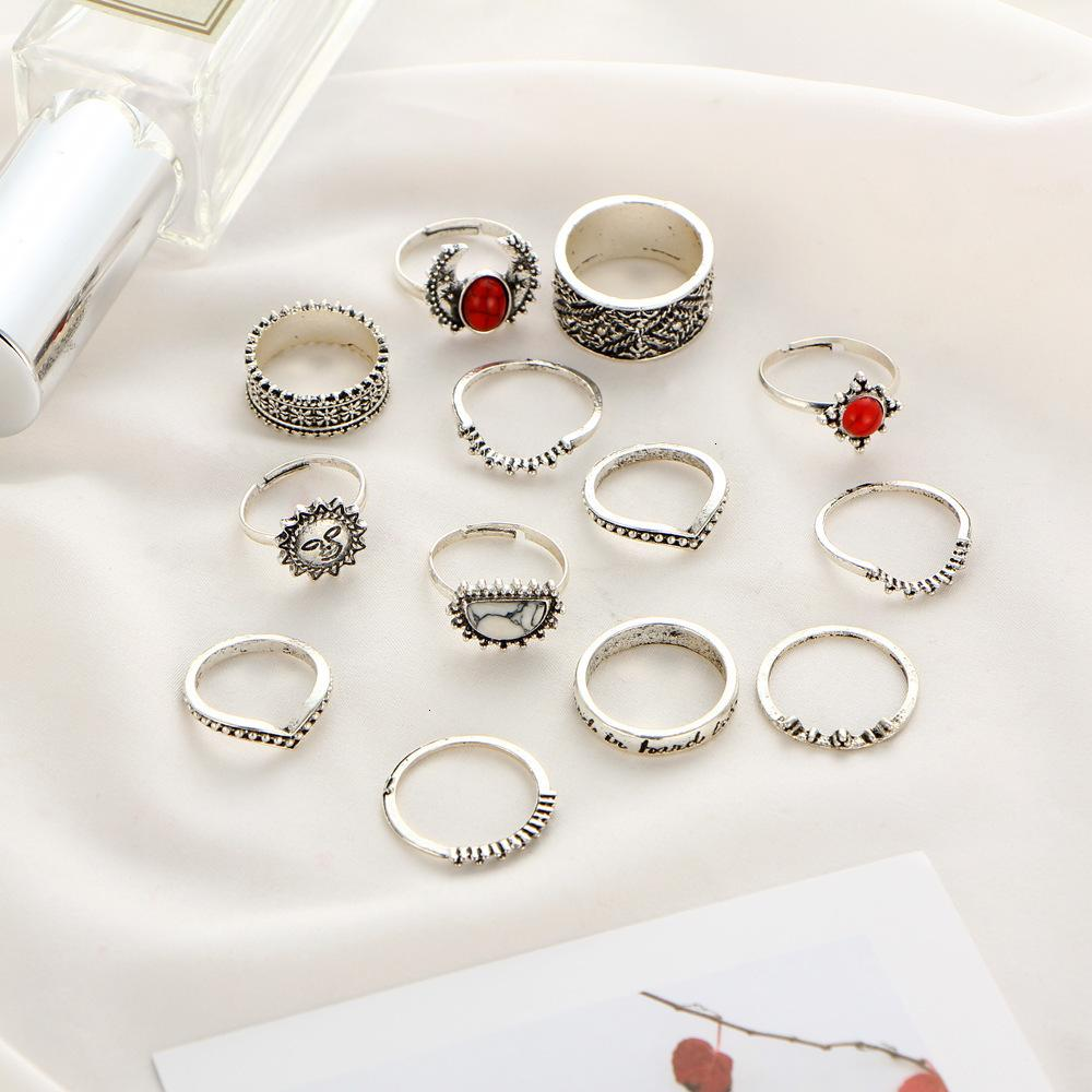 Set Engraved 14pcs/Set Fashion Joint Jewelry Ring Bohemian Vintage Punk Antique silver-Color Sun Face Finger Rings For Women Wholesale