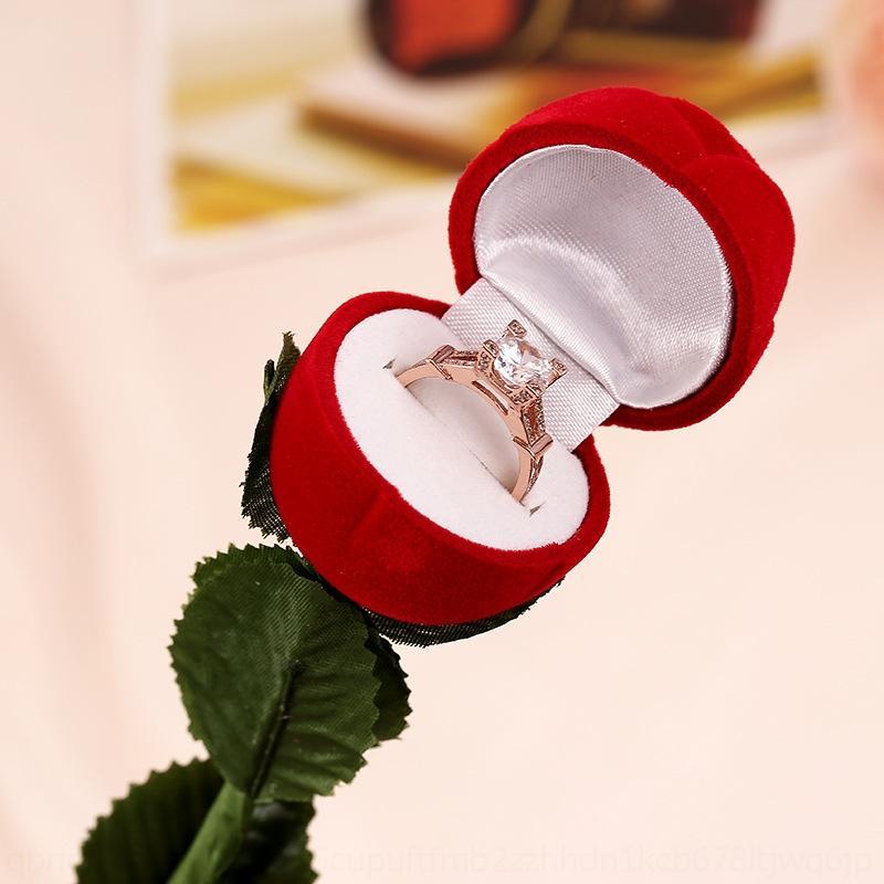 ESLQR Caixa Criativa de Rosas Com Rebanho Vermelho Caixa Criativa de Rosas Com Anel Red Anel Fligando