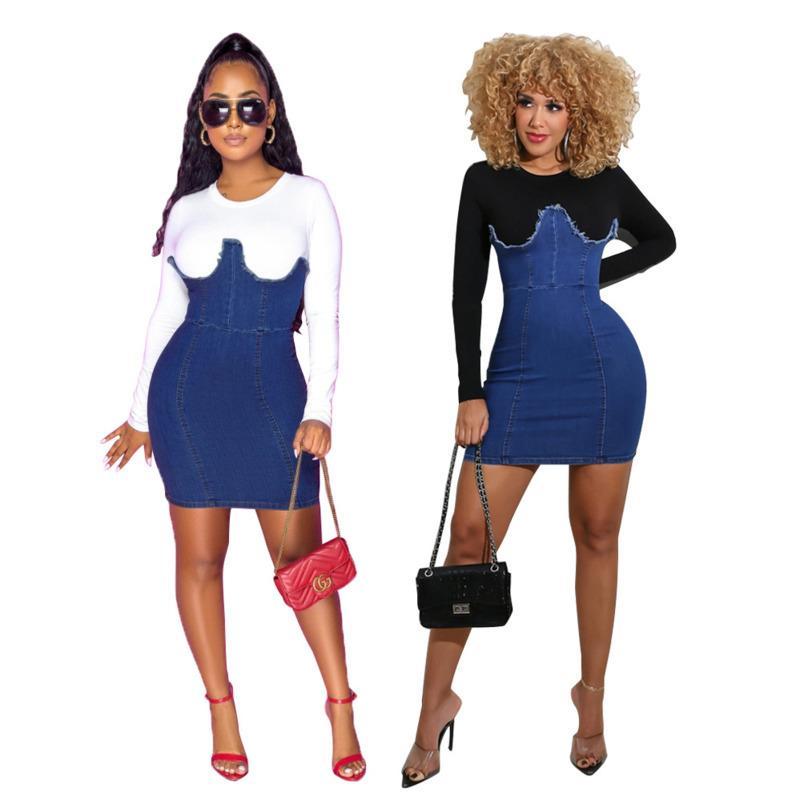 Mulheres Vestidos Designers Roupas 2020 Moda Casual Saia Slim Alto Elástico Denim Hidden Zipper Costura Vestido A nova listagem