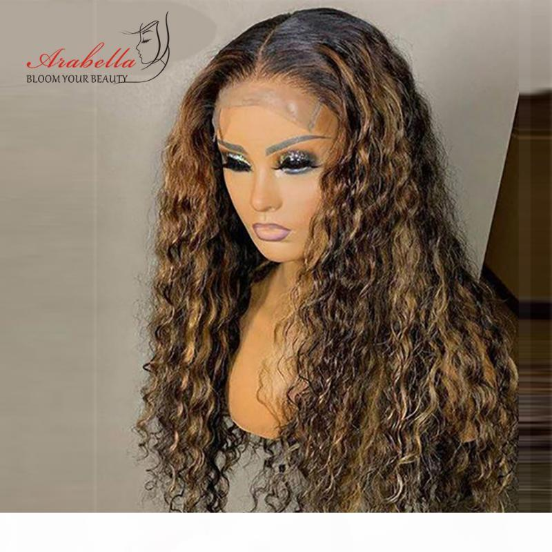 Water Wave Wig Highlight Lace Frontal Wig 100% Human Hair Wigs With Baby Hair Arabella Remy Pre plucked Lace Closure