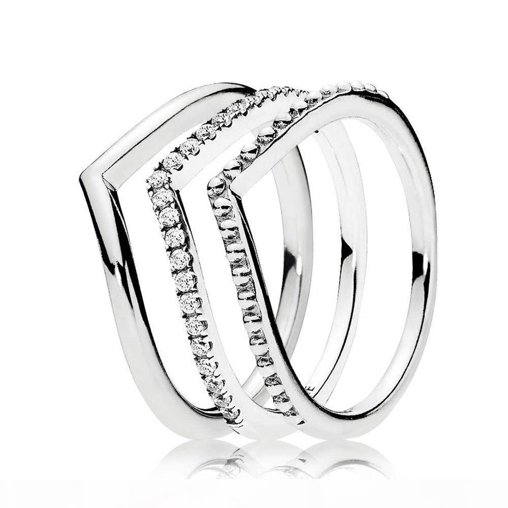 Yeni 925 Ayar Gümüş Dilek Yüzük Yığın Yüzük ile CZ Taş Fit Pandora Takı Nişan Düğün Lovers Moda Yüzük