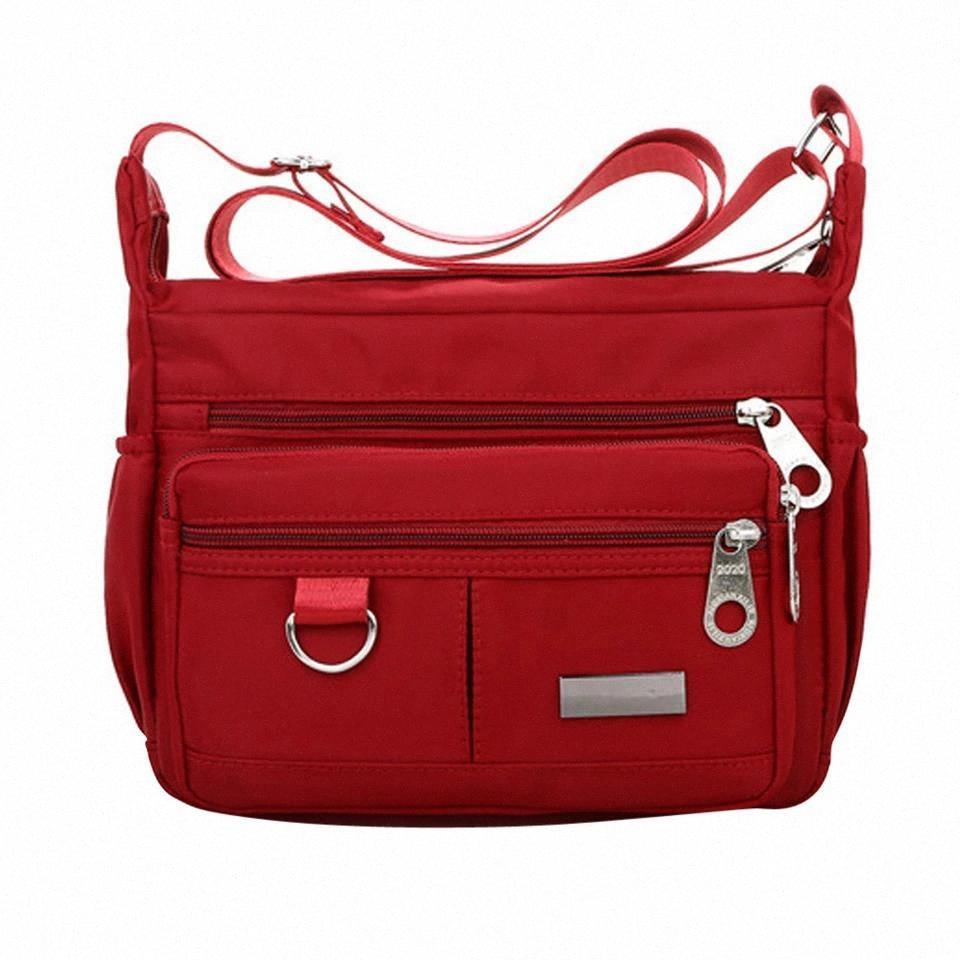 Femmes grande capacité Couleur solide Fermeture à glissière étanche Nylon sac à bandoulière Bandbody Sac noir Sacs rouges Mujer Bolsa Feminina # 35 # CQ7H