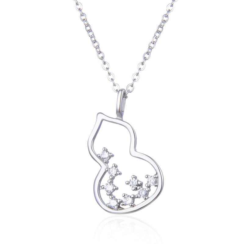 Wholeasle Real S925 Cucurbit Female Jewelry Necklace Pendant Chain Fashion Accessories Zircon Jewel Women Girl Gifts Q1209