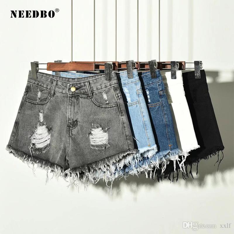 Needbo Shorts Jeans Sommer Short für Frauen 2020 Denim Shorts Hohe Taille Lässig Kurzer Femme Vintage Hose Hosen Damen