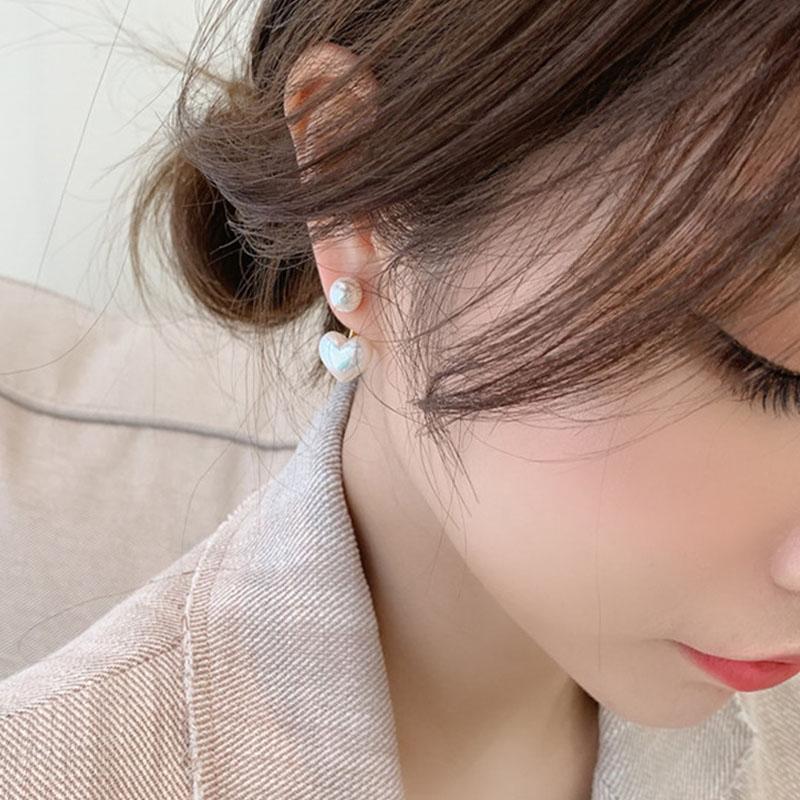 2020REAL 925 Pendientes de plata de la aguja de plata esterlina para las mujeres Joyería Pendientes hembras de perla de corazón doble