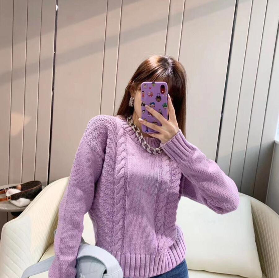 2020 겨울 여성 긴 소매 니트 보라색 순수한 색상 간단한 스타일 패션 여성 스웨터 느슨한 무료 배송