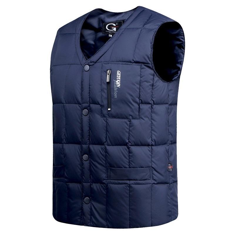 Белая утка куртка мужчины осень зима теплая без рукавов V-образным вырезом вниз легкий жилет моды вскользь мужской жилет Q1119