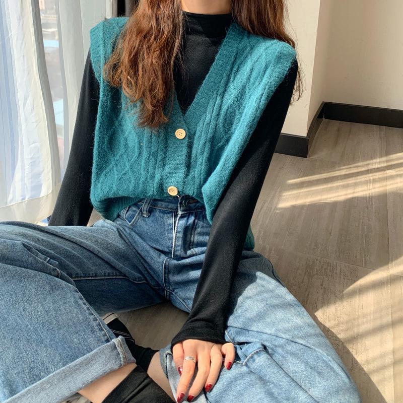 Половина с высокой воротниковой воротниковой воротниковой рубашкой осень 2020 новый корейский V-образным вырезом переводит свободную футболку для женщин