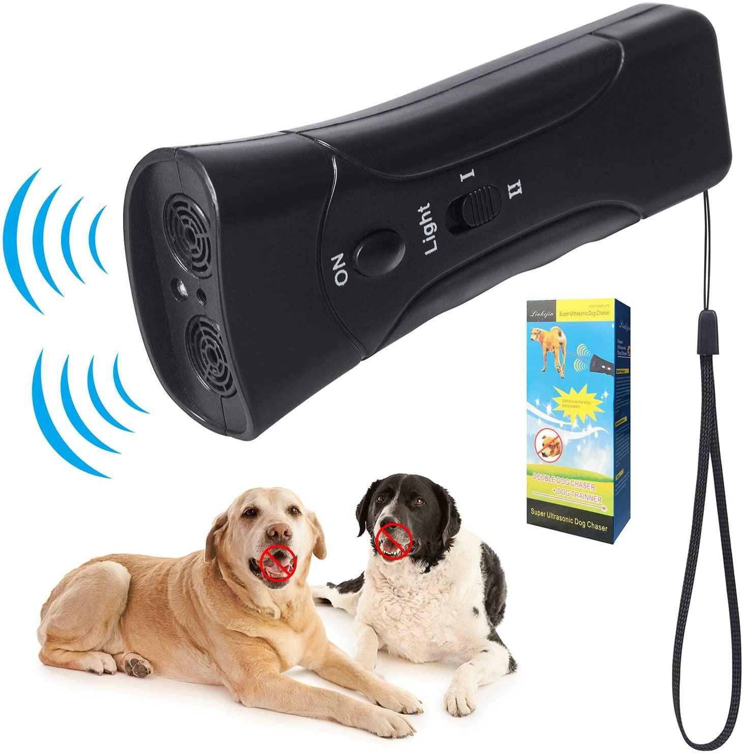 2 رئيس كلب مبيد مكافحة النباح وقف لحاء الردع الهجمات الحيوانية العدوانية LED بالموجات فوق الصوتية التحكم بالموجات فوق الصوتية جهاز مدرب YL0242