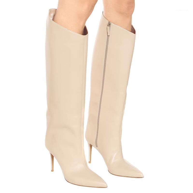 New Brand Shoes Woman Pointed Toe High Heel Side Zipper Knee High Boots Winter Fashion Pure White Long Boot Thin Heels Botas1