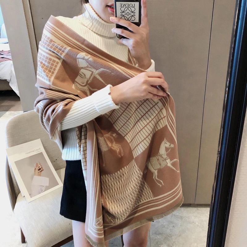 2020 бренд зимний шарф женские кашемировые теплые пашмины грязные леди роскошные лошади шарфы густые мягкие шали