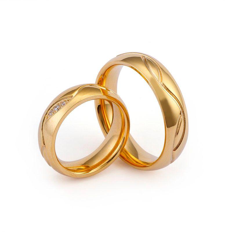 Mariage classique Mariage Simple Or Couleur d'or En Acier Inoxydable Couple Anneaux Pour Femmes Hommes Cubic Zircone Alliance Bijoux