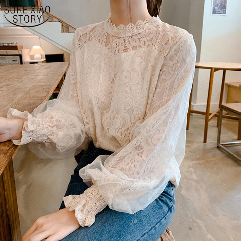 Lantern Long Sleeve Lace Women's Shirt Autumn New camisa See-through Vintage Blouse Women Sweet Korean Top Female 10456 201201