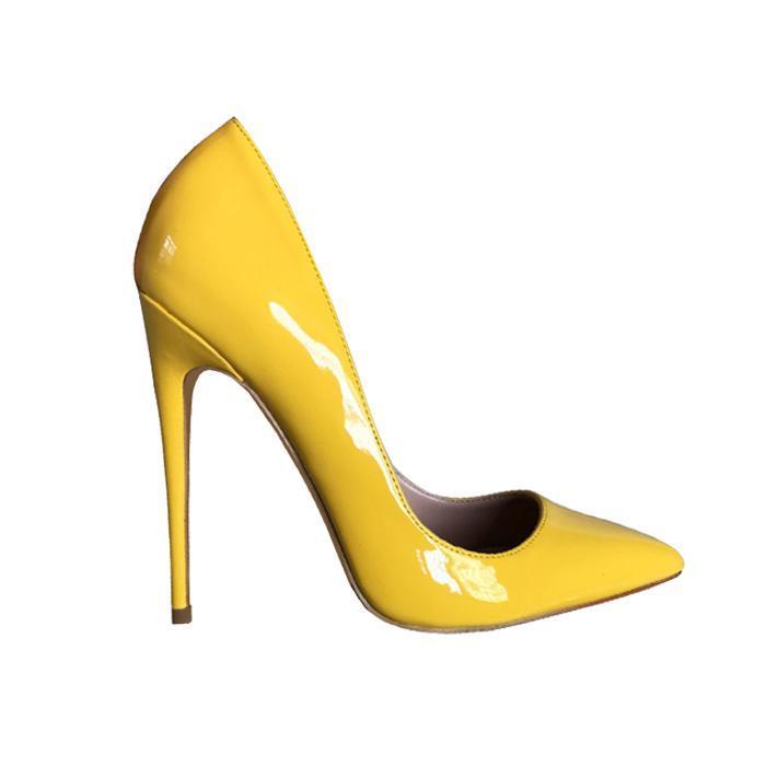 foto real mujer de alta calidad mujer patente amarillo cuero puntiagudo tacón alto tacón stilettos mujer amarillo talón tacón stiletto zapatos
