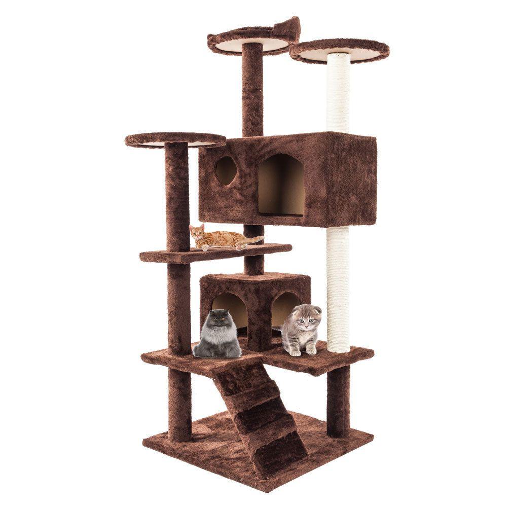 Deluxe 52-дюймовый Cat Tree Condo мебель котенок активность башня Pet Kitty большой игровой дом кондо для отдыха спать горячий предмет