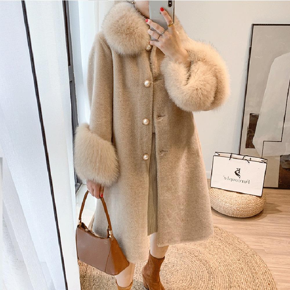 Cashmere Lavelache nuevo de las mujeres mezclas de lanas verdadera larga capa de la chaqueta de invierno Natural Fox cuello de piel de abrigo Streetwear LO9V
