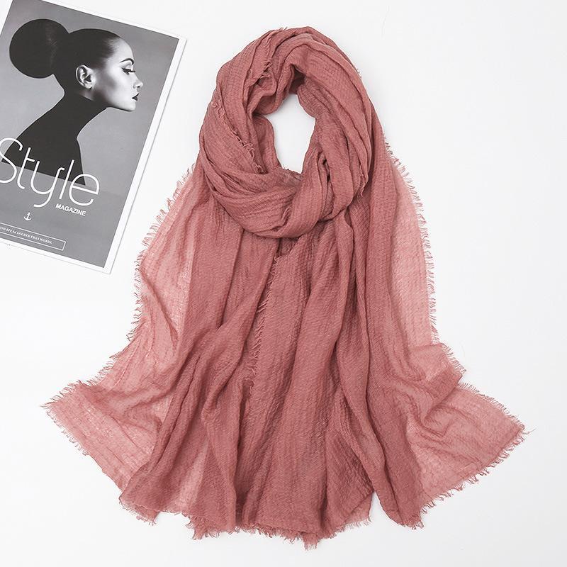 2021 Big Taille Bubble Plissé Fringe Viscose Coton Coton Populaire Châles Hijab automne Wrinkle Wrap Wrap Foulards musulmans / Écharpe 180 * 80cm