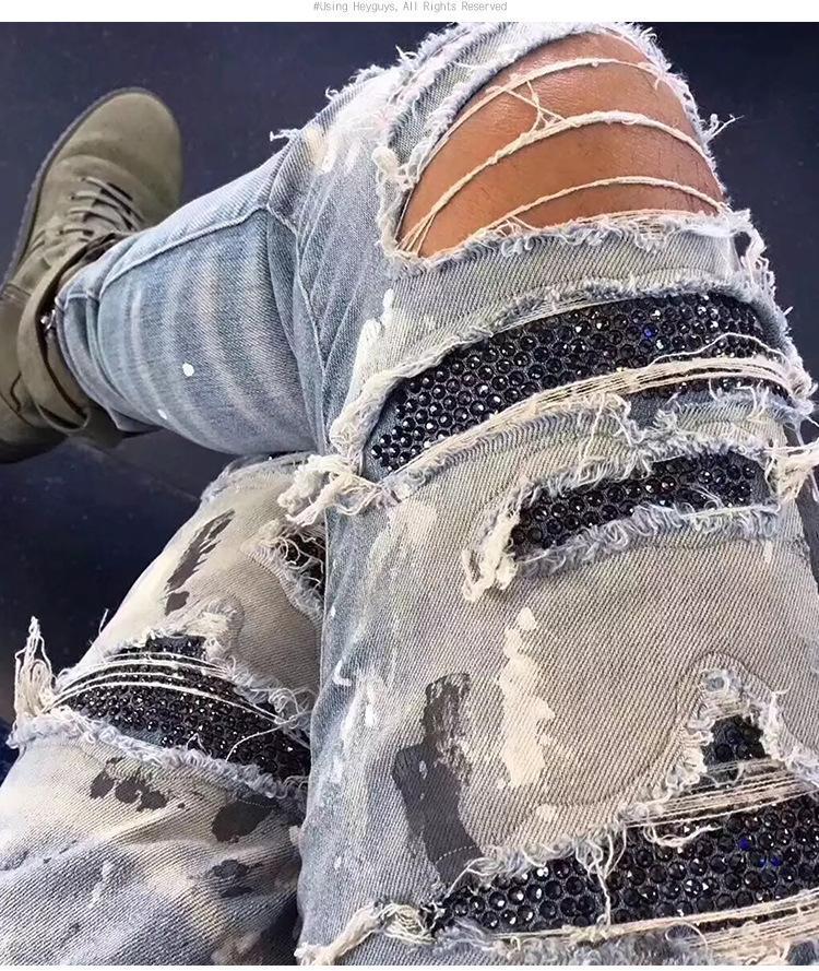 New Men's Street Hip-Hop Mendas Calças Salpicadas Tinta Calças Perfuradas Hot Buracos Calças de Jeans Moda Denim Calças