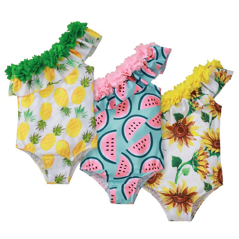 Children Watermelon Pineapple Sunflower Print Swimwear One-Pieces baby girls lace ruffle swimsuit 2021 summer fashion Bikini Kids One-piece Z2286