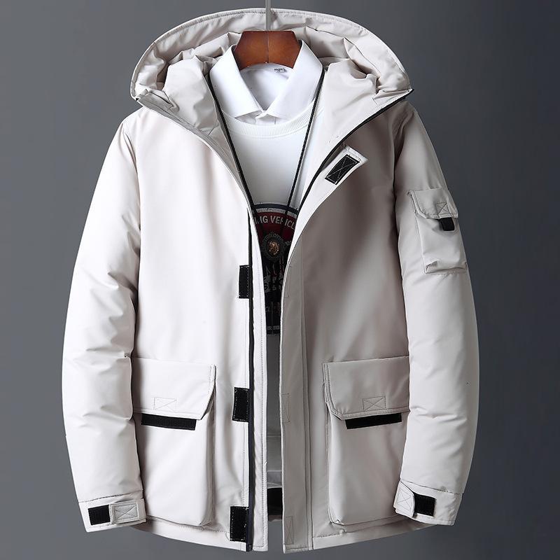 Канада мужская белая White Workswear Новый стиль молодой пуховой куртка короткие утолщения открытый теплый зима вниз пальто Q1119