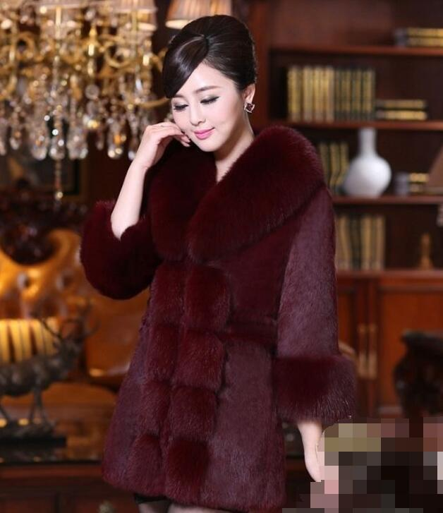 Otoño / invierno de gama alta piel de conejo para mujeres chaqueta de piel sintética para mujeres de mediana longitud 2020 nuevo vestido de piel de piel de zorro de gran tamaño
