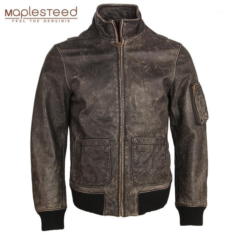 Vintage Distressed Lederjacke Männer Leder Mantel 100% Natürliche Kalbsleder Männer Bomber Jacken Herbst Männliche Kleidung M1571