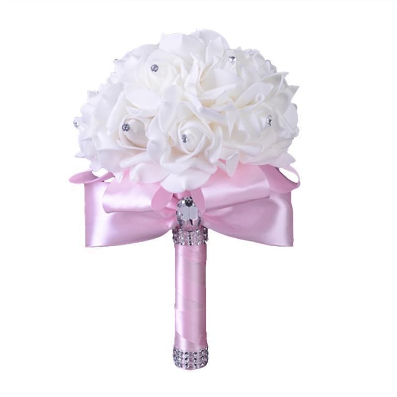 Kristallrosen Perle Brautjungfer Hochzeitsblumenstrauß Braut handgefertigte künstliche Seide Blumen Hochzeitsfeier Weihnachten Dekoration Geschenk / c