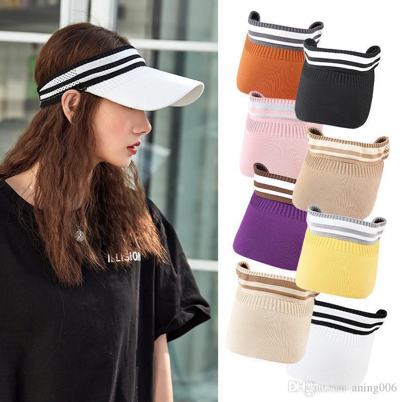 2020 Spor Boş Üst Şapka Güneş Şapka Kadınlar Için Vizör Şapka Golf Tenis Beyzbol Yetişkin Kız Kapaklar Açık Kap Koşu Şapka Ayarlanabilir Kapaklar