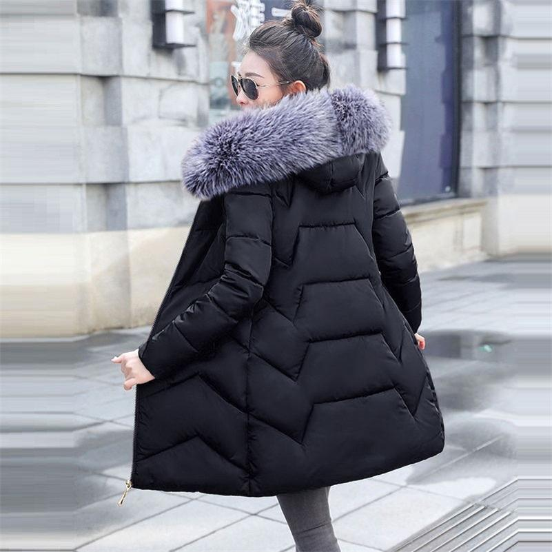 Fake Fox Fur Womens Parkas Warm Long Outwear Winter Hooded Coat Female Winter Jacket Women's Winter Down Jackets And Coats 201211