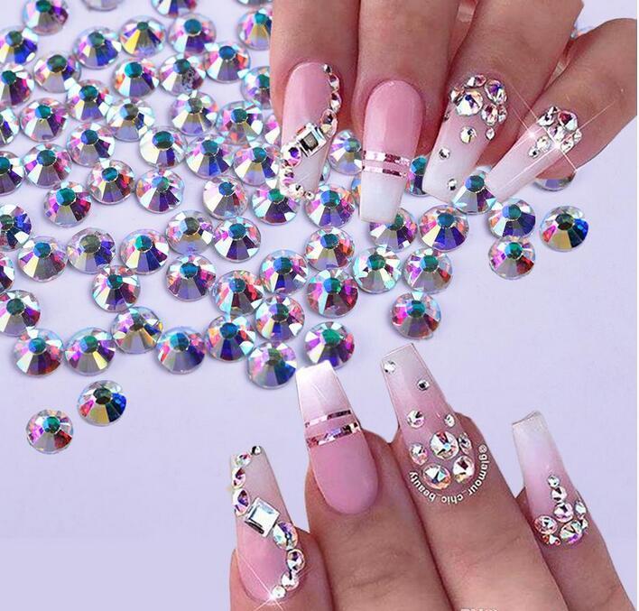 10bag / 세트 (1440pcs / 가방) 플랫 백 컬러 크리스탈 네일 라인 석 3D 쥬얼리 유리 다이아몬드 보석 네일 아트 장식 DIY 공예 모조 다이아몬드