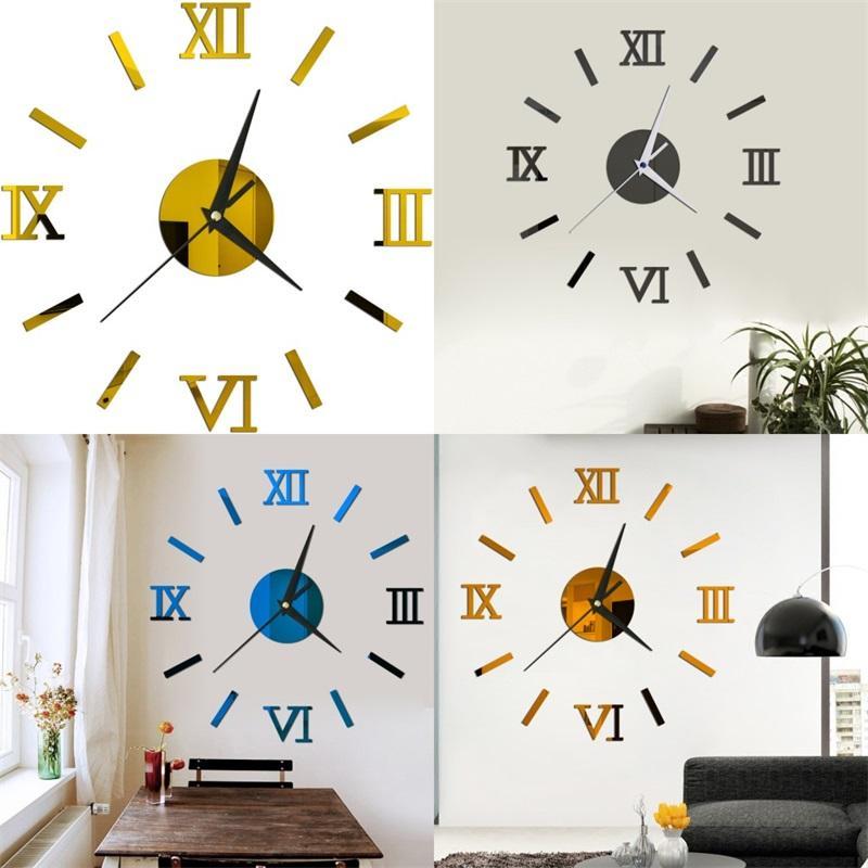 로마 숫자 DIY 시계 홈 장식 거실 거울 3D 입체 붙여 넣기 벽 장식 시계 다색 6YYA F2