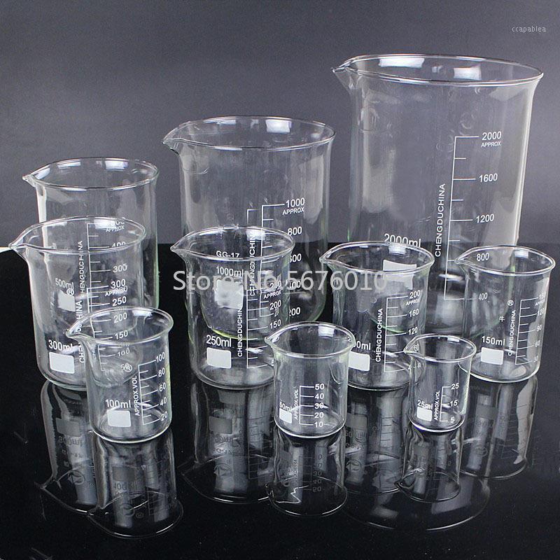 1 Loslabor 25ml bis 2000ml Niedrige Form Becherchemie Laborglas Transparente Becherflasche mit Sput1 verdickt