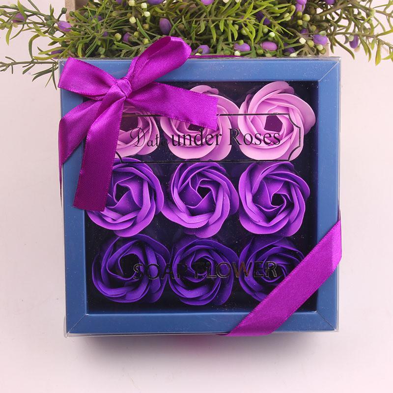 Dia dos Namorados Rosa Presente 9 Pcs Sabão Flor Rosa Caixa de Casamento Dia Mãe Dia Aniversário Dia Artificial Sabão Rose Flor GGE3829