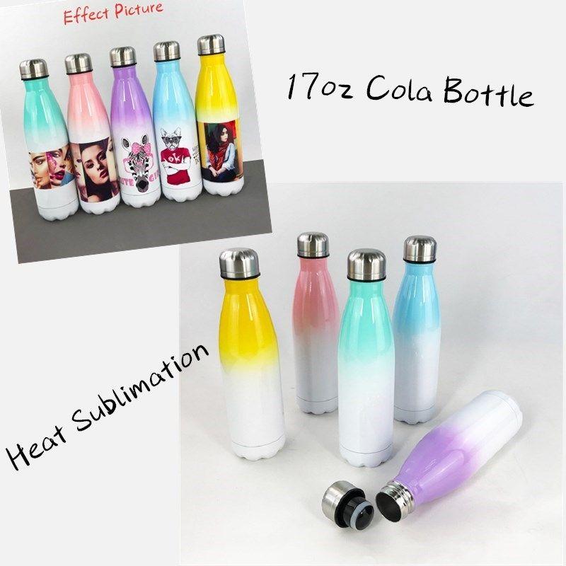 DIY Sublimation 17 Unzen Cola-Flasche mit Farbverlauf Farbe 500ml Edelstahl Cola-förmige Wasser-Flaschen Doppelwandige isolierte Flaschen PPD177