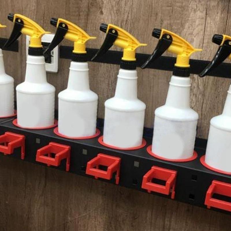 Rack de armazenamento de garrafa de pulverizador material abrasivo pendurado trilho de carro de beleza loja acessório exibição auto limpeza detalhando ferramentas cabide