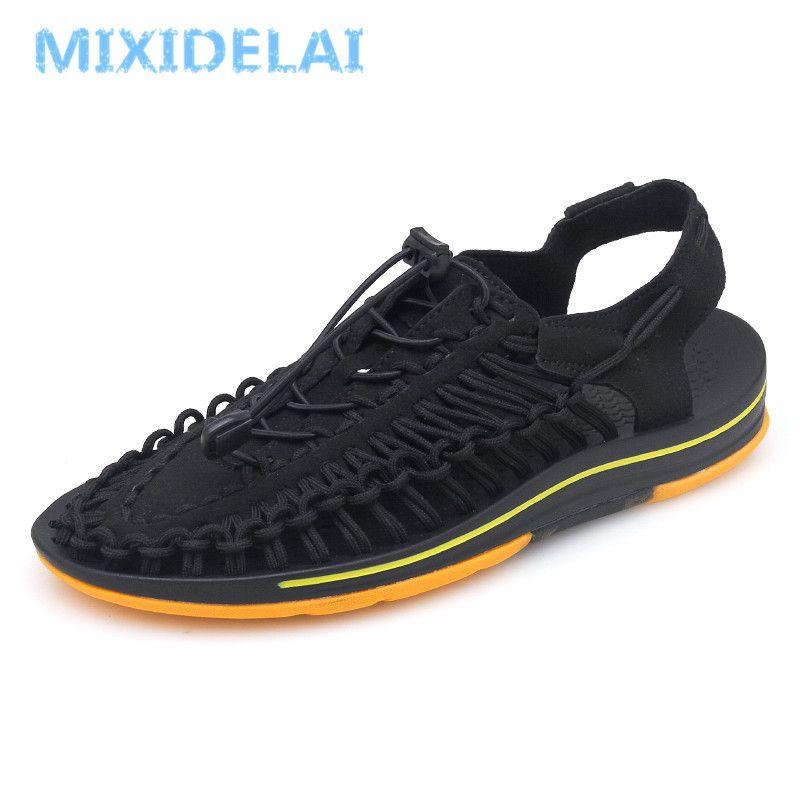 Mixidelai marka örgü sahil plaj ayakkabı yaz sandalet erkekler ayakkabı moda tasarım erkekler sandalet kalite rahat rahat ayakkabılar T200420