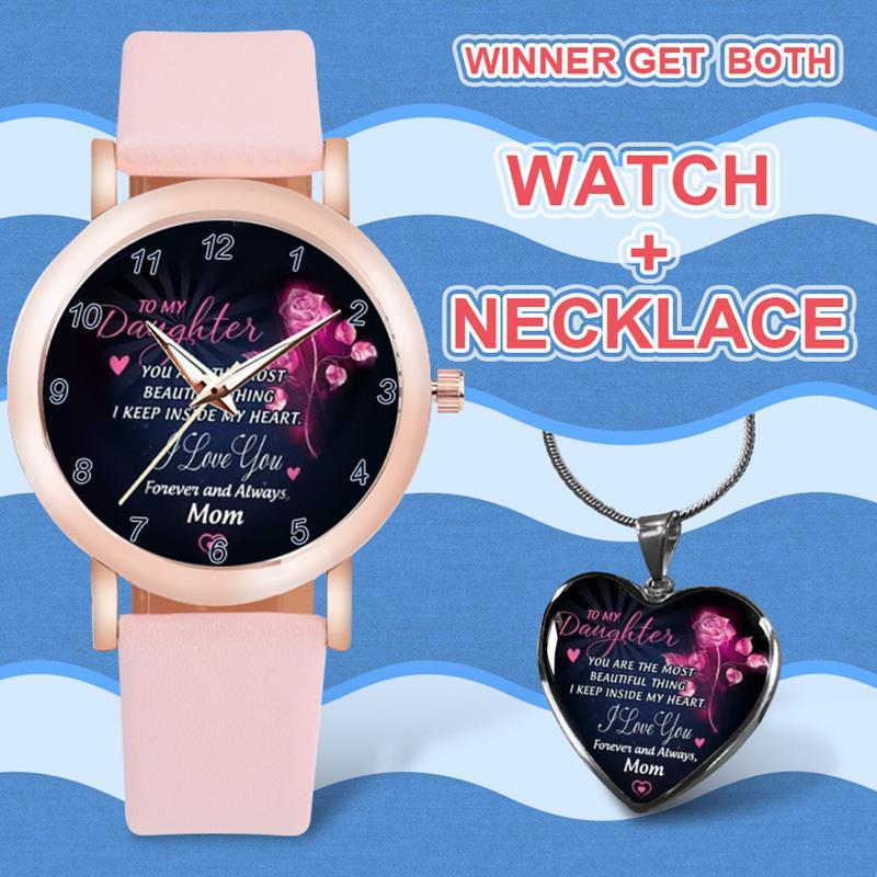 Heißer Verkauf Liebhaber Uhren Schmuck 2 stücke Sätze mit Halskette Tochter Geschenk Klassische Armbanduhr Hohe Quty Schmuck Paar Uhren DHL frei