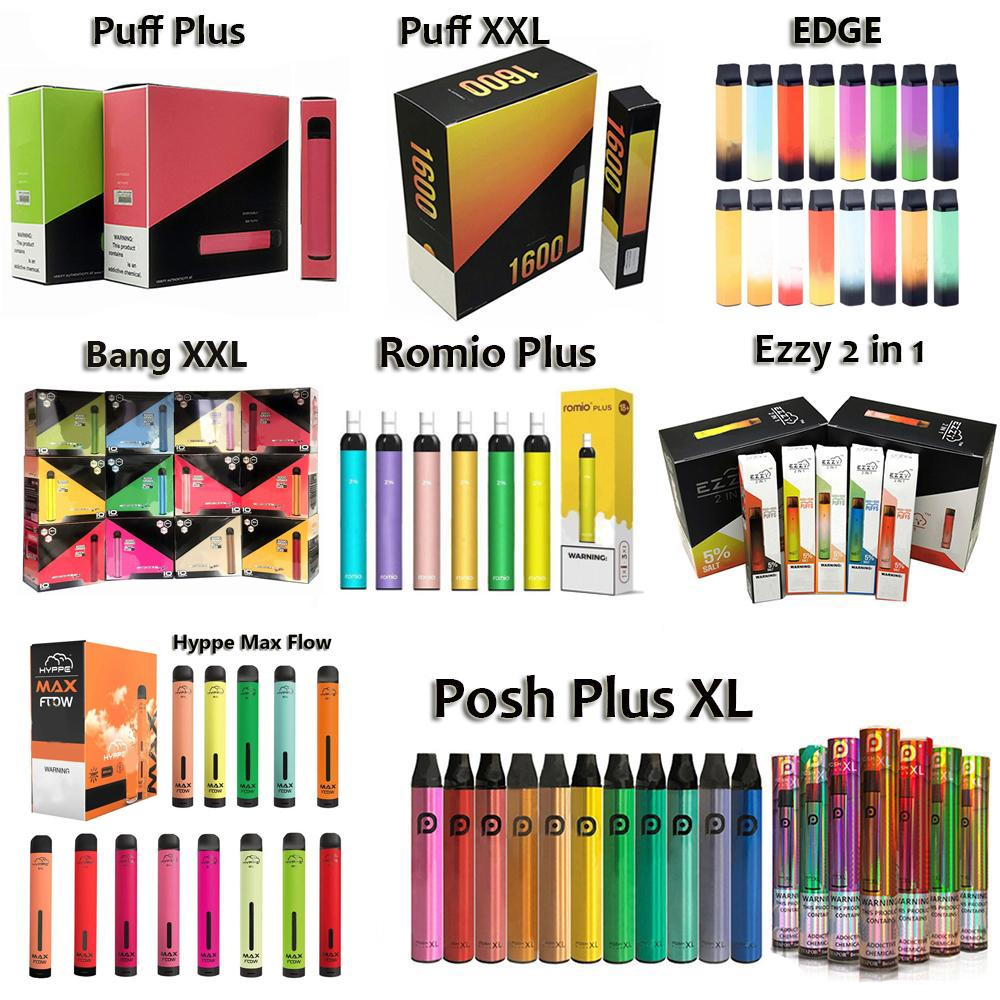 Puff Plus Bang XXL ROMIO PLUS POSH PLUS XL VAPE DESECHABLE 800 1500 1600 2000 Puffs Desechable Cigarrillo electrónico E Cigs