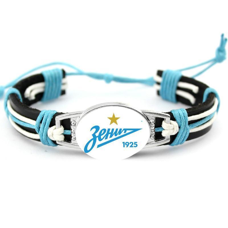 FC Zenit Football Football Team Russo Genuine Pelle Bracciale in Pelle Charms Bracciali Braccialetti Braccialetti Fans Gioielli intrecciati a mano