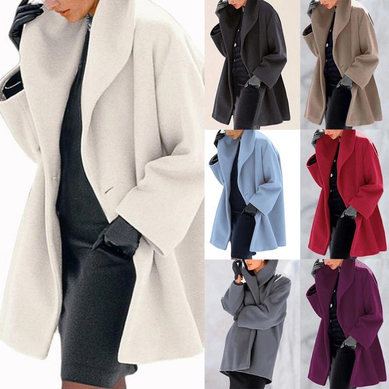 Sonbahar ve kış gevşek ofis palto ve ceketler kadın rahat katı rüzgarlıklar uzun kollu giyim abrigos para mujer tops