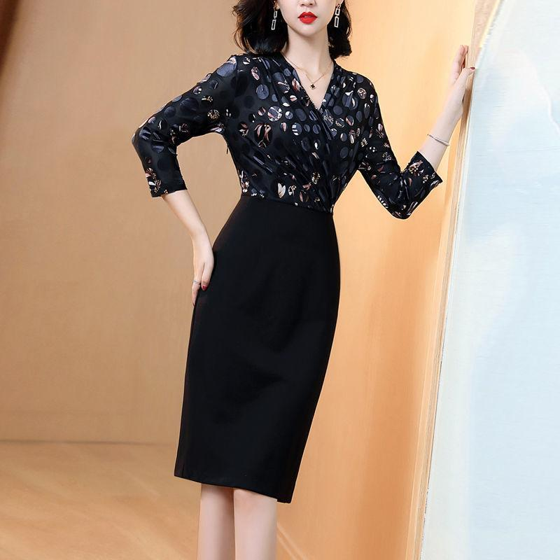 Günlük Elbiseler Kadınlar 2021 Bahar Sonbahar Moda Ince Elbise Kadın Çapraz V Yaka Uzun Kollu Baskı Bodycon İş Vestidos F50