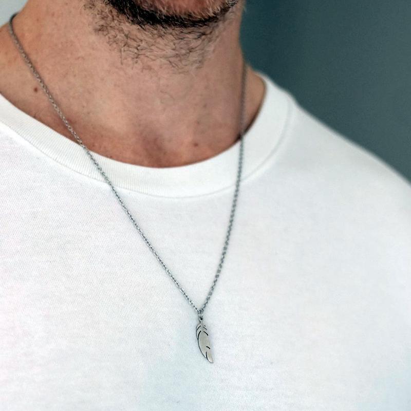 Edelstahl Frauen Männer Einfache langkette Feder Anhänger Halskette Aussage Paare Schmuck