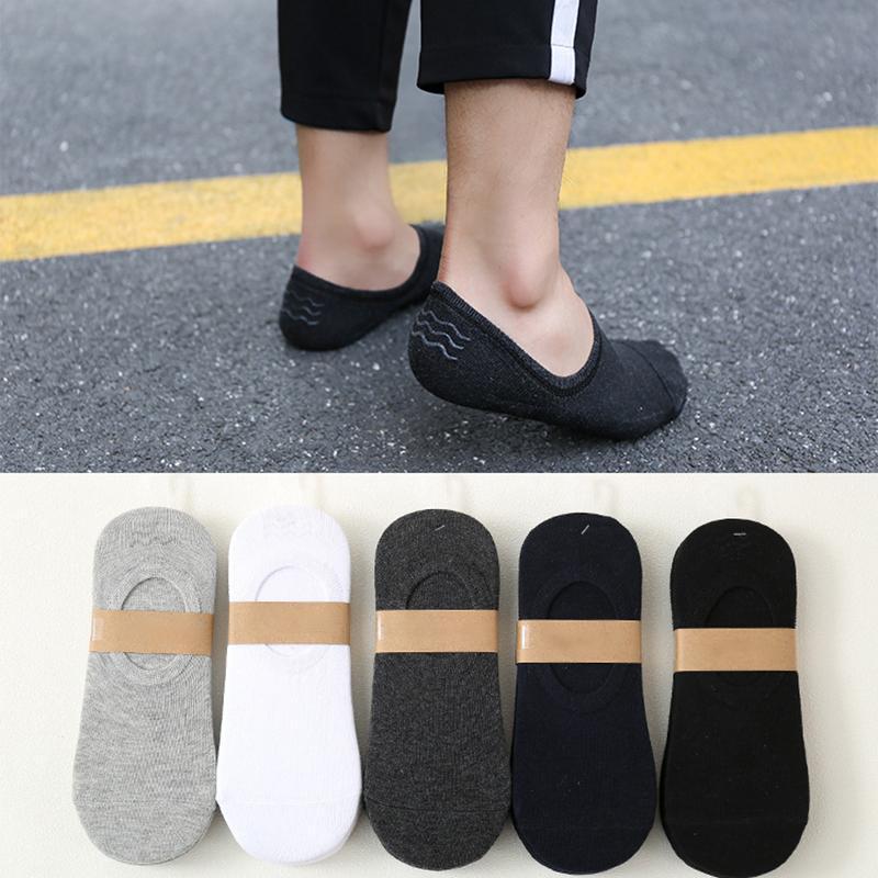 Été automne 5 paires de coton antidérapant respirant pour hommes chaussettes courtes multicolores avec chaussettes de bateau en silicone invisible