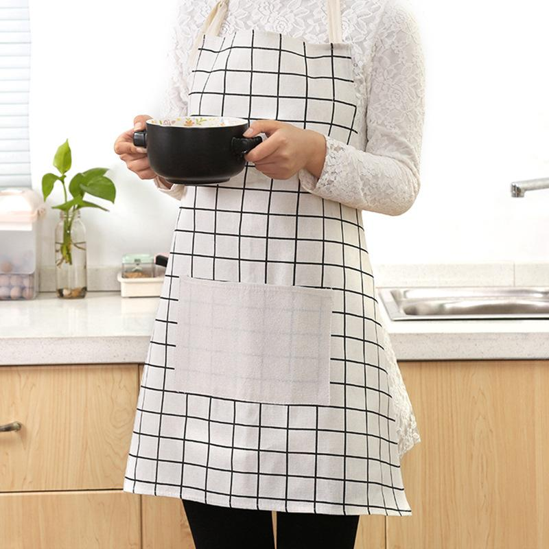 Commercio all'ingrosso Plaid Print Grembiule Grembiule Senza maniche Donne morbide Donne Casa Cooking Cooking Party Grembiuli di pulizia Cucina Accessori da cucina DDFG