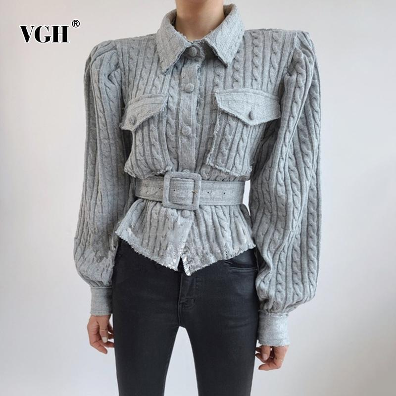 Puntos de mujer Tees VGH Vintage Twist Suéter gris para las mujeres Sapa Lantern Mensaje con fajas Tops de punto Ropa de moda femenina 2021 AUT