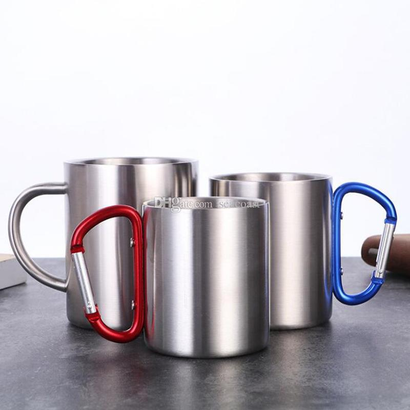 50 stücke Freies Verschiffen 220ml Edelstahl Outdoor-Kaffeetasse Doppelwandbecher Karabinerhaken Griff Cups Becher