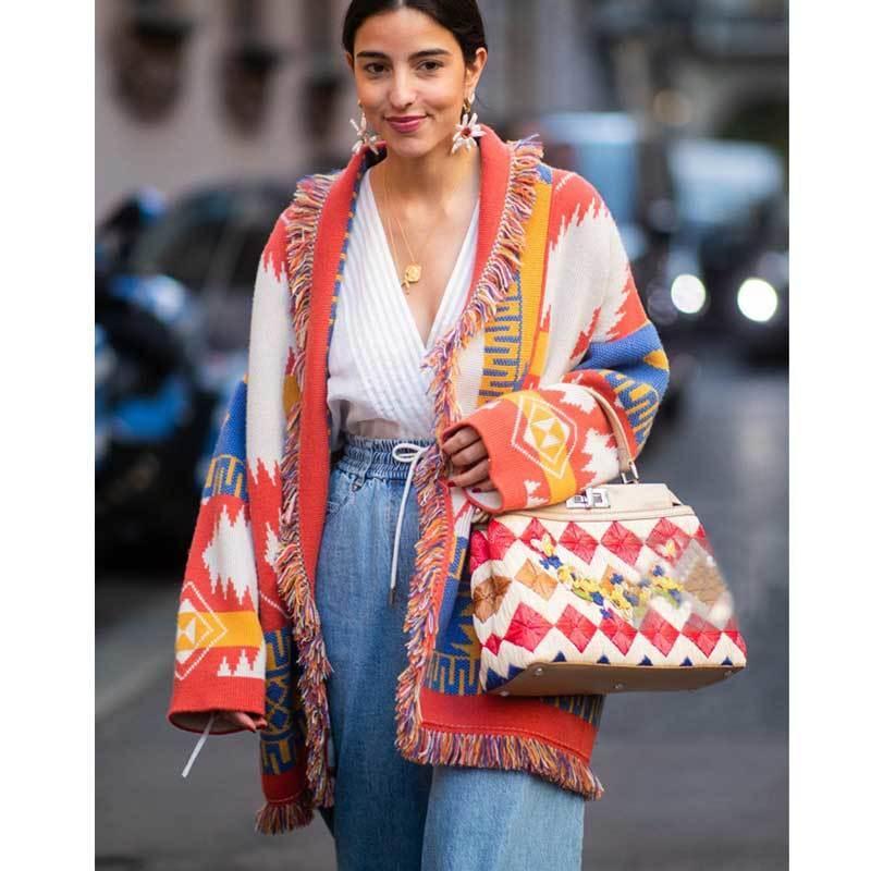 Boho вдохновил кашемировую жаккардовый кардиган для женщин-оревных отделков с длинным рукавом кардиган свитер пальто зимний пояс свитер женщины 201128