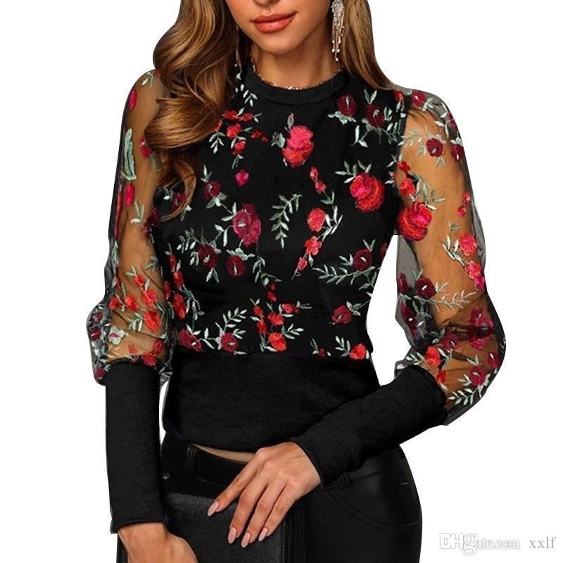 Frühling Herbst Frauen Floral Stickerei Mesh Sheer See-Through Langarm Bluse Oansatz Tops Hemden Blusas KG-982